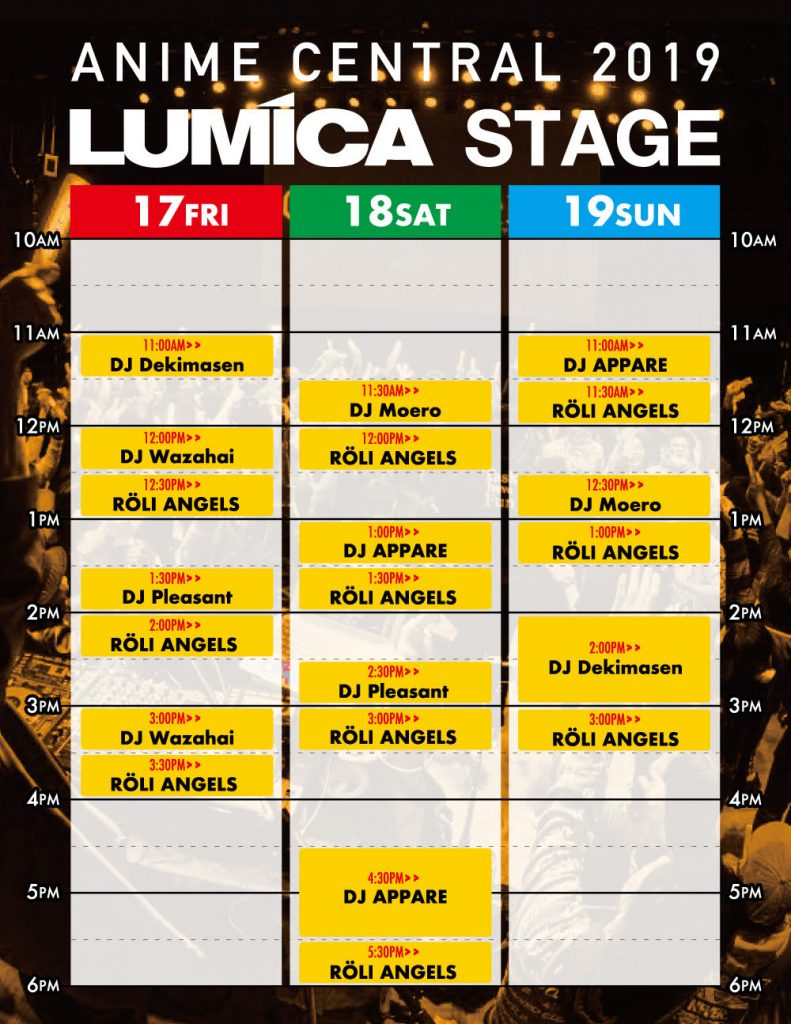 Lumica Schedule of Events