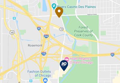 Distance Map for the Hyatt Rosemont